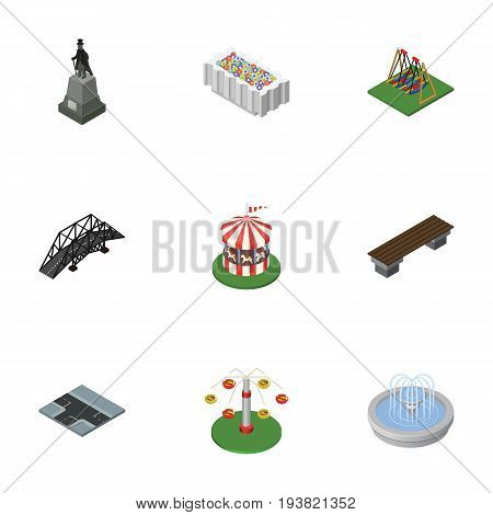 Isometric City Set Of Seesaw, Flower Decoration, Carousel And Other Vector Objects. Also Includes Plants, Seesaw, Flower Elements.
