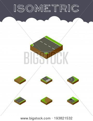 Isometric Way Set Of Subway, Pedestrian, Downward And Other Vector Objects. Also Includes Downward, Road, Underground Elements.