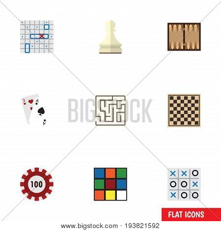 Flat Icon Entertainment Set Of Pawn, Dice, Chess Table And Other Vector Objects. Also Includes Backgammon, Chess, Table Elements.