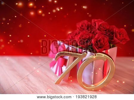 birthday concept with red roses in the gift on wooden desk. 3D render - seventieth birthday. 70th