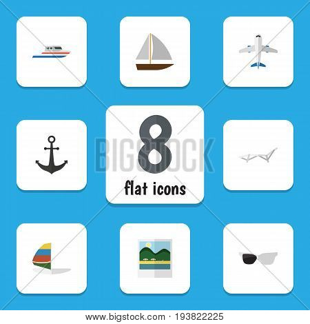 Flat Icon Season Set Of Aircraft, Reminders, Surfing And Other Vector Objects. Also Includes Ship, Foto, Surfing Elements.