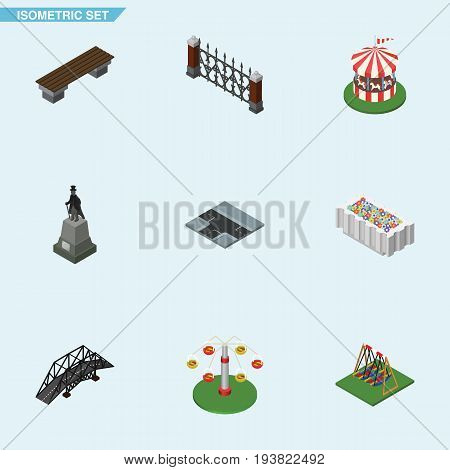 Isometric City Set Of Sculpture, Flower Decoration, Bench And Other Vector Objects. Also Includes Horses, Hedge, Bench Elements.