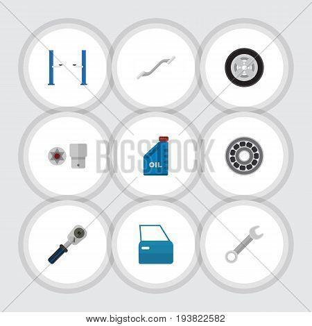 Flat Icon Auto Set Of Petrol, Turnscrew, Ratchet And Other Vector Objects. Also Includes Automobile, Door, Spherical Elements.
