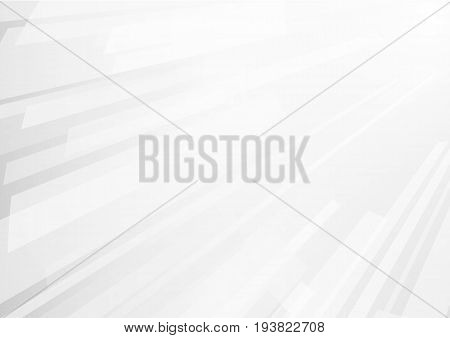 Abstract white geometrics overlap on gray background