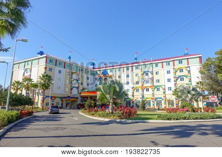 HOUSTON, USA - JANUARY 12, 2017: Beautiful and colorful hotel with a lego structure in Legoland, as touristic place. Legoland is a theme park based on the popular LEGO brand of building toys.