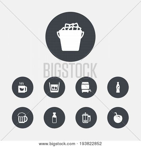 Set Of 9 Beverages Icons Set.Collection Of Pot, Fridge, Mug And Other Elements.