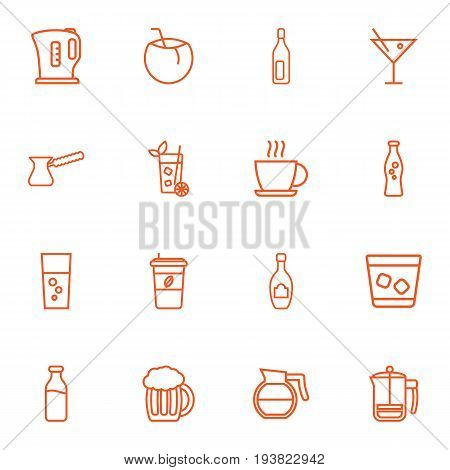 Set Of 16 Drinks Outline Icons Set.Collection Of Mojito, Champagne, Coffeepot And Other Elements.