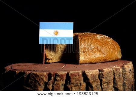 Argentinian Flag On A Stump With Bread Isolated