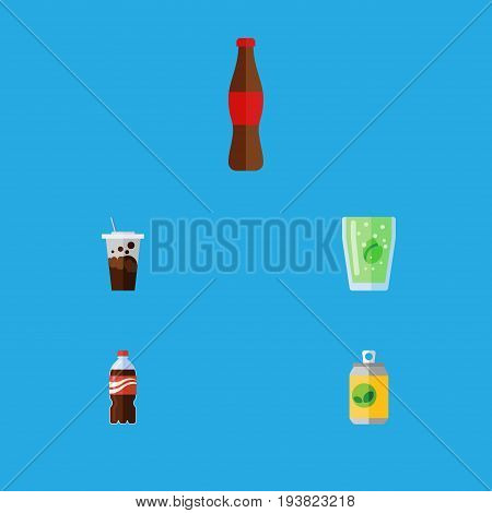Flat Icon Soda Set Of Cup, Beverage, Carbonated And Other Vector Objects. Also Includes Cola, Bottle, Carbonated Elements.