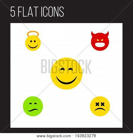 Flat Icon Emoji Set Of Frown, Pouting, Cross-Eyed Face And Other Vector Objects. Also Includes Pouting, Smile, Dizzy Elements. poster
