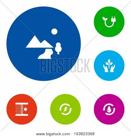Set Of 6 Bio Icons Set.Collection Of Protection, Treatment, Purification And Other Elements.