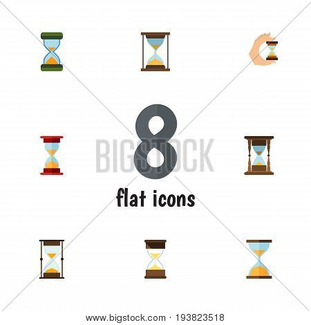 Flat Icon Hourglass Set Of Instrument, Sand Timer, Measurement Vector Objects. Also Includes Clock, Sand, Instrument Elements.