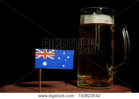 Australian Flag With Beer Mug Isolated On Black Background