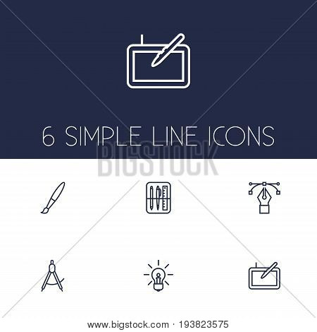 Set Of 6 Constructive Outline Icons Set.Collection Of Bezier Curve, Drawing Tools, Paintbrush And Other Elements.