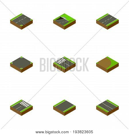 Isometric Way Set Of Unilateral, Down, Flat And Other Vector Objects. Also Includes Crossroad, Pedestrian, Subway Elements.
