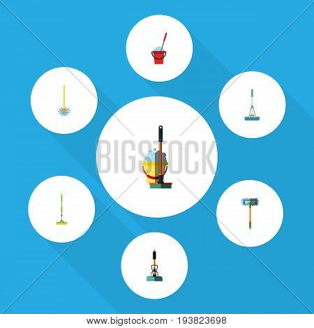 Flat Icon Mop Set Of Besom, Cleaning, Bucket And Other Vector Objects. Also Includes Mop, Broom, Sweep Elements.