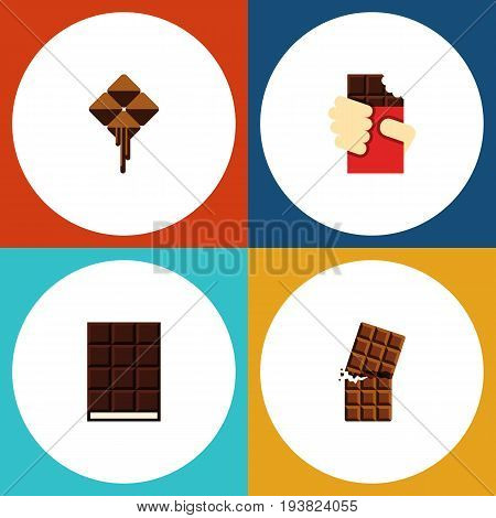 Flat Icon Bitter Set Of Shaped Box, Dessert, Delicious And Other Vector Objects. Also Includes Chocolate, Box, Wrapper Elements.