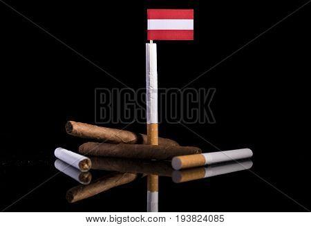 Austrian Flag With Cigarettes And Cigars. Tobacco Industry Concept.