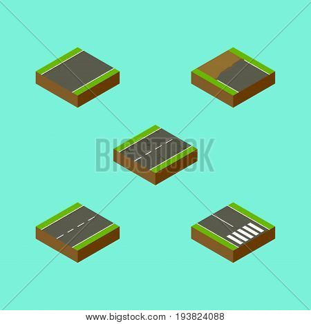 Isometric Way Set Of Cracks, Unilateral, Incomplete And Other Vector Objects. Also Includes Incomplete, Cracks, Earthquake Elements.