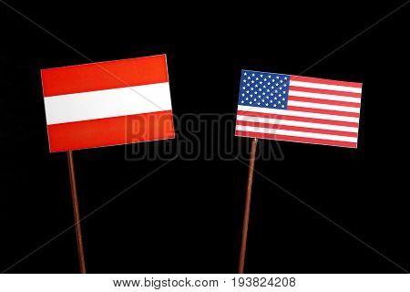 Austrian Flag With Usa Flag Isolated On Black Background