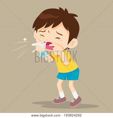 Child blow the nose. Cute boy using tissue to wipe snot from his nose
