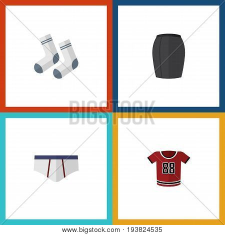 Flat Icon Dress Set Of Stylish Apparel, Foot Textile, Underclothes And Other Vector Objects. Also Includes Woman, Blouse, Skirt Elements.