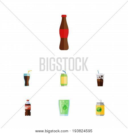 Flat Icon Soda Set Of Bottle, Cup, Beverage And Other Vector Objects. Also Includes Soda, Bottle, Cola Elements.