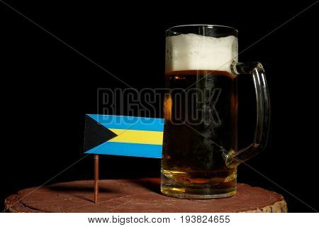 Bahamas Flag With Beer Mug Isolated On Black Background
