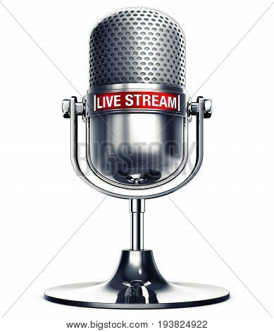 3D rendering of a microphone with the words live stream
