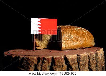 Bahrain Flag On A Stump With Bread Isolated