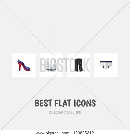 Flat Icon Garment Set Of Pants, Heeled Shoe, Underclothes And Other Vector Objects. Also Includes Pants, Underwear, Heeled Elements.