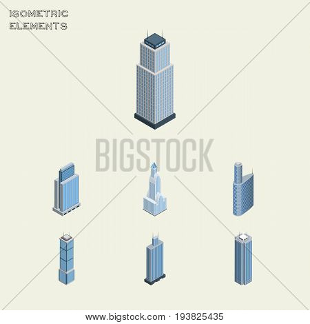 Isometric Skyscraper Set Of Tower, Urban, Skyscraper And Other Vector Objects. Also Includes Building, Exterior, Skyscraper Elements.