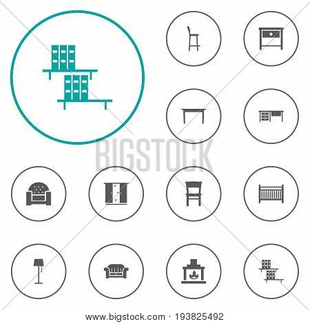 Set Of 12 Decor Icons Set.Collection Of Cot, Bedside Table, Cupboard And Other Elements.