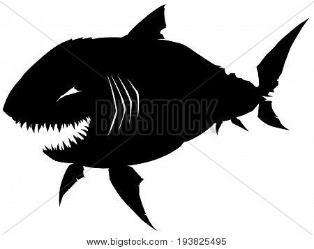 Black graphic smiling silhouette shark with sharp teeth on white background