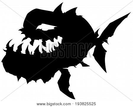 Black graphic silhouette monster fish with big jaw on white background