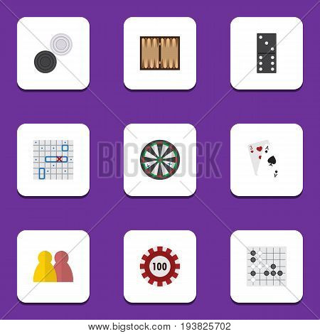 Flat Icon Games Set Of Gomoku, Dice, Arrow And Other Vector Objects. Also Includes Alphago, Cards, Dice Elements.