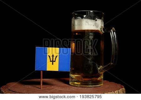 Barbados Flag With Beer Mug Isolated On Black Background