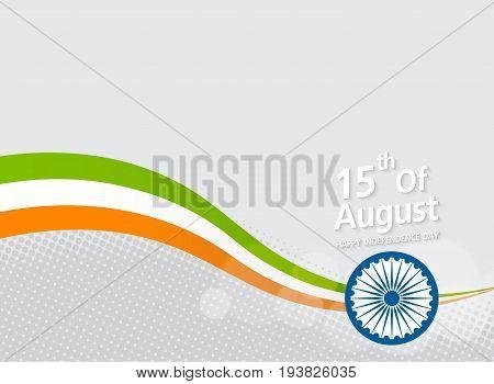Happy Indian Independence Day celebration on flag color halftone effect background