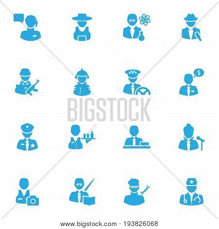 Set Of 16 Position Icons Set.Collection Of Medic, Leaner, Scholarly And Other Elements.