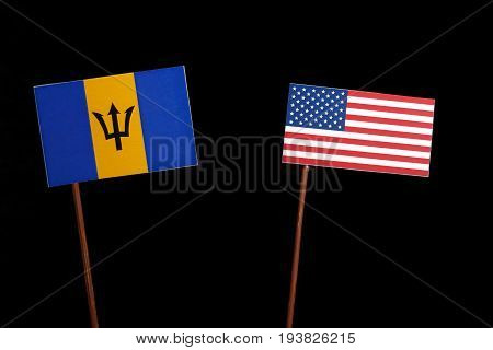 Barbados Flag With Usa Flag Isolated On Black Background