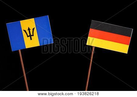 Barbados Flag With German Flag Isolated On Black Background