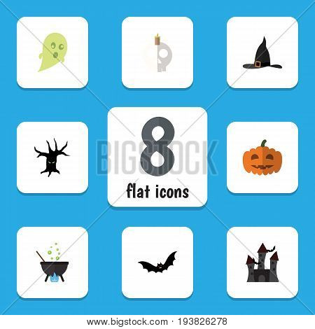Flat Icon Celebrate Set Of Phantom, Witch Cap, Magic And Other Vector Objects. Also Includes Castle, Wizard, Cranium Elements.