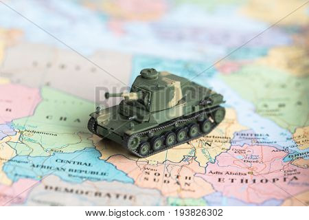 Toy Tank Plastic As World War On Map, War, Fight Army Soldier Tank Sample Picture Or War Scenario.