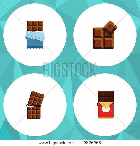 Flat Icon Cacao Set Of Bitter, Wrapper, Cocoa And Other Vector Objects. Also Includes Wrapper, Cocoa, Delicious Elements.