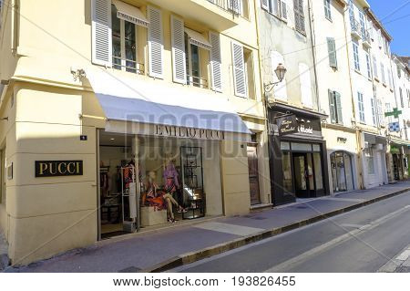 SAINT-TROPEZ FRANCE - 17 JUNE 2017 - Store front display of stylish dresses of famous Italian fashion designer Emilio Pucci in glamorous Saint-Tropez