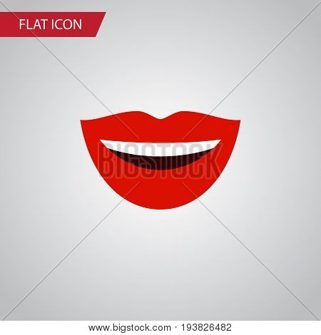 Isolated Laugh Flat Icon. Smile Vector Element Can Be Used For Laugh, Lips, Mouth Design Concept.