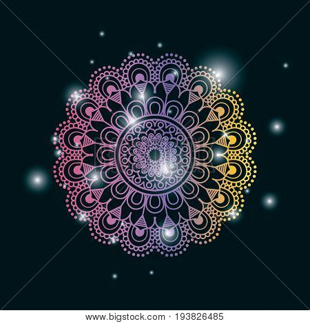 blue dark color background with brightness and colorful brilliant flower mandala vintage decorative ornament vector illustration