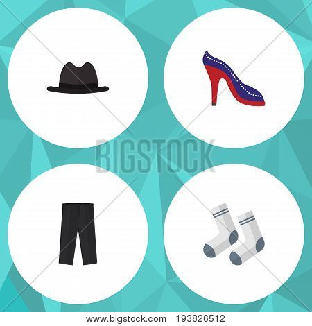 Flat Icon Garment Set Of Pants, Panama, Foot Textile And Other Vector Objects. Also Includes Leggings, Hat, Textile Elements.