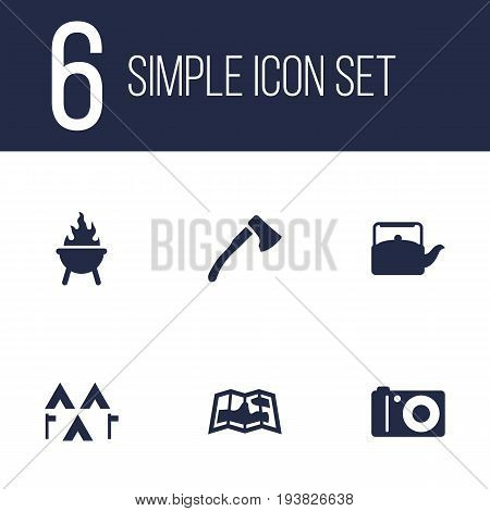 Set Of 6 Adventure Icons Set.Collection Of Photo Camera, Map, Camp And Other Elements.
