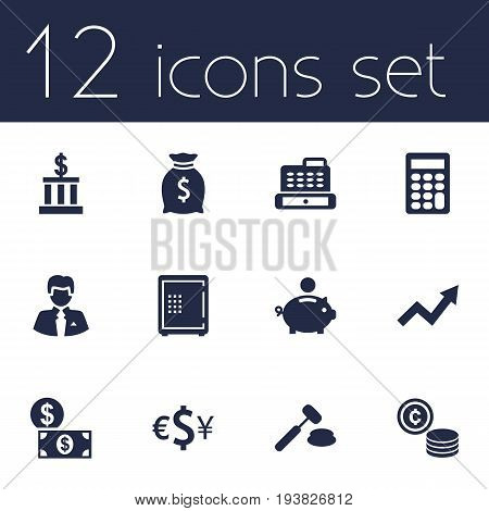 Set Of 12 Budget Icons Set.Collection Of Piggy Bank, Cashbox, Building And Other Elements.